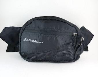 Eddie Bauer Black 2 Zipper Fanny Pack // 90's Hip Bag with Adjustable Strap