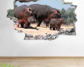 Hippopotumus Wall Sticker 3d Look - Bedroom Lounge Nature Animal Wall Decal Z243