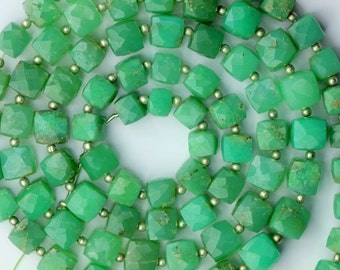 8 inch long strand faceted CHRYSOPRASE cube beads 6.5--8.5 mm