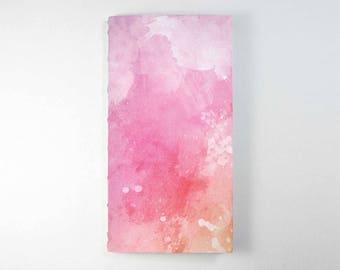 Travelers Notebook Insert - Pink Watercolour.  Bullet Journal, Midori Insert, Fauxdori Insert, Planner Insert, Traveler's Notebook Refill.