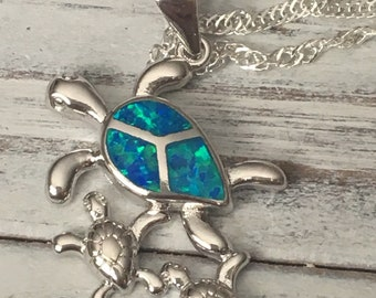 Mommy Turtle, Baby Turtles, Sterling Silver Turtle Pendant by Seyshelles, Mom to Be, Mom
