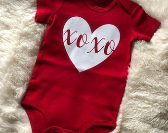 Baby Girl XOXO Valentines Day Onesie,Valentines Day,White Glitter Heart,