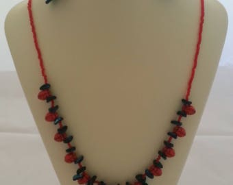 Strawberry Love Necklace and Earrings Set