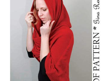 Hooded Scarf Sewing Pattern. Infinity Shawl and Infinity Scarf Sewing patterns - PDF Sewing Pattern