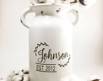 home decor, personalized vase, farmhouse style decor, rustic home decor, personalized gifts, living room decor, modern farmhouse, farmhouse