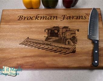 Farm Combine Harvester Cutting Board (FC2) Personalized Cutting Board, Engraved Cutting Board, Custom Cutting Board, Wood