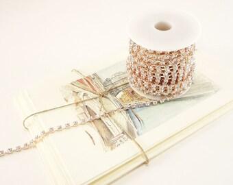 Rose Gold Rhinestone Chain, Clear Crystal, Crystal Trim (4mm / 1 Yard Qty)