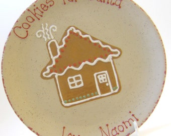 Gingerbread House Cookies for Santa Plate & MUG - Personalized Christmas House Plate  - Santa Cookie Plate - Gingerbread Housewarming Gift