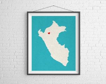 Custom Peru Silhouette Print, Customized Country Map Art, Personalized Peru Gift, Peruvian Art, Heart Map, Peru Map, Love Map, Home Country
