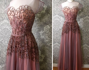 vintage AS-IS 1940s gown <> 1940s net overlay gown with swirling velvet cording design <> sold in as-is condition