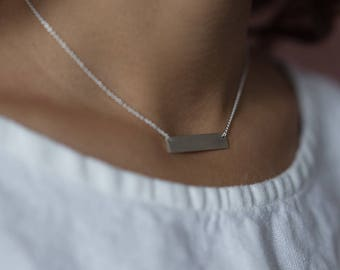 Bar Necklace | Personalized | Handmade Hand Stamped Minimalist Necklace | Sterling Silver | Gold | Rose Gold