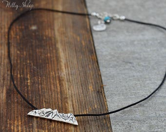 Necklace mountains. Mountain peaks on the black string.Mountain jewelry.Travel.Gift for mountains lovers.Necklace handmade.Black necklace