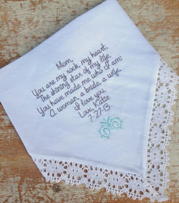 Embroidered wedding handkerchief monogrammed custom mom from