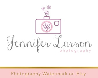 Instant download logo - Pre-made Logo - Photography Watermark - Camera Watermark - Whimsical Logo - Camera Logo - PSD - flower watermark 182