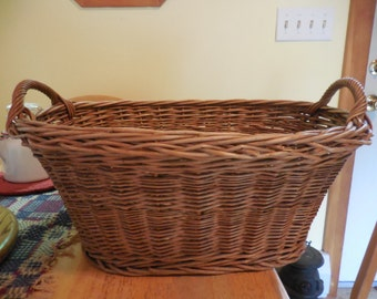 Vintage 1950s to 1960s Miniature Wicker Laundry Basket Like