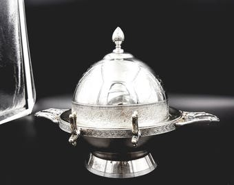Antique Meridien B. Butter Dish with Drain Plate, Silverware, Home Decor