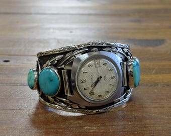 Vintage Turquoise Sterling Silver Watch Cuff Bracelet