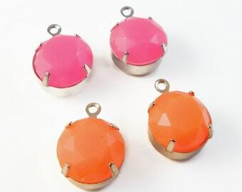 Neon acrylic drops - neon pink, orange