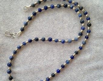 Fine Silver and Sodalite Necklace
