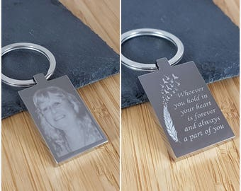 Memorial Gift / In Loving Memory - Engraved Photo Keyring - Remembrance, Lost loved one, Funeral, Mother, Father