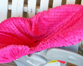 hot pink minky infant car seat cover only