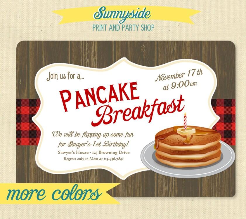 Pancake Breakfast Party Invitation 1st First Birthday