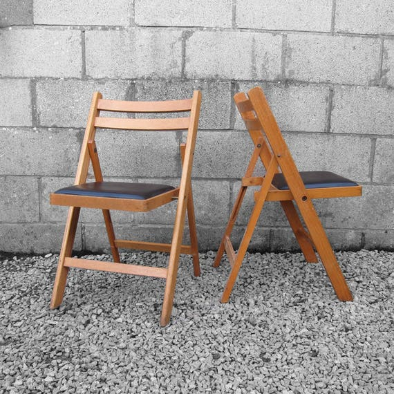 Mid Century Folding Chair Vintage Wooden 1960s Dining Seat