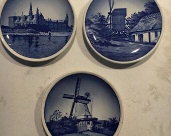 3 Vintage Transferware Dutch Scene Butter Pats Made in Denmark 3 in