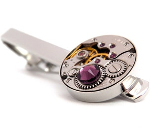 Steampunk Tie Bar With Vintage Watch Movement and Amethyst Crystal. Jamlincrow