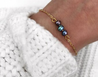 Bracelet sweet water pearls gold silver blue green filigree chain