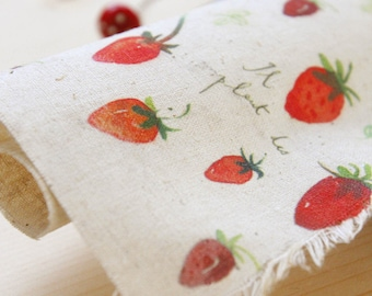 "Strawberry Fabric, Hand Printed Fabric, Linen Cotton Fabric, Unique Fabric - Red Strawberry Panel 8""x 8"" (20cm X 20cm)"