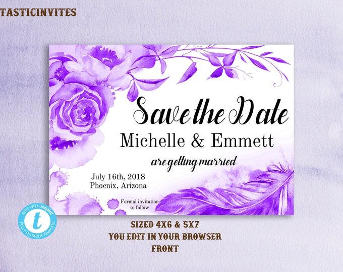 Save the Date Photo Card Template, Watercolor Floral Save the Date Template, Save Our Date, Printable, Boho, Rustic, Printable,Photo, Purple