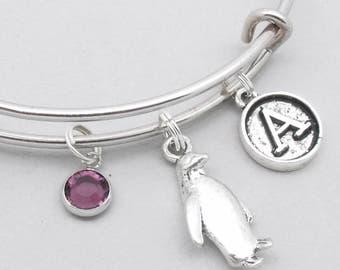Penguin vintage style initial charm bracelet | penguin bangle | personalised penguin bracelet | penguin jewelry | penguin gift | letter