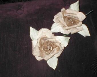 Vintage Handmade Silk Dupioni Rose Flowers lot of 2