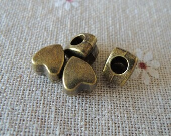 12pcs Antique Bronze Heart bead with big hole ( A085)