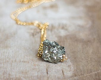 Raw Pyrite Necklace, Raw Crystal Necklace, Gift for Her, Gift for Women, Fool's Gold, Pyrite Jewelry, Stone Necklace, Raw Stone Jewelry