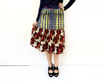 Statement Skirt, High End Skirt, African Clothing, Leaf Print Skirt, Eclectic Fashion, African Midi Skirt, Peplum Skirt, Boho Chic / Size S