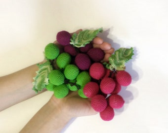 1 Pcs - Crochet grapes, teether teeth, play food, kitchen decoration, eco-friendly Baby toys