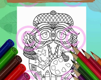 Whimsical Baby Owl in the Egg Artist Painter Owl Zendoodle Tangles Coloring Page for Adult Coloring and all ages
