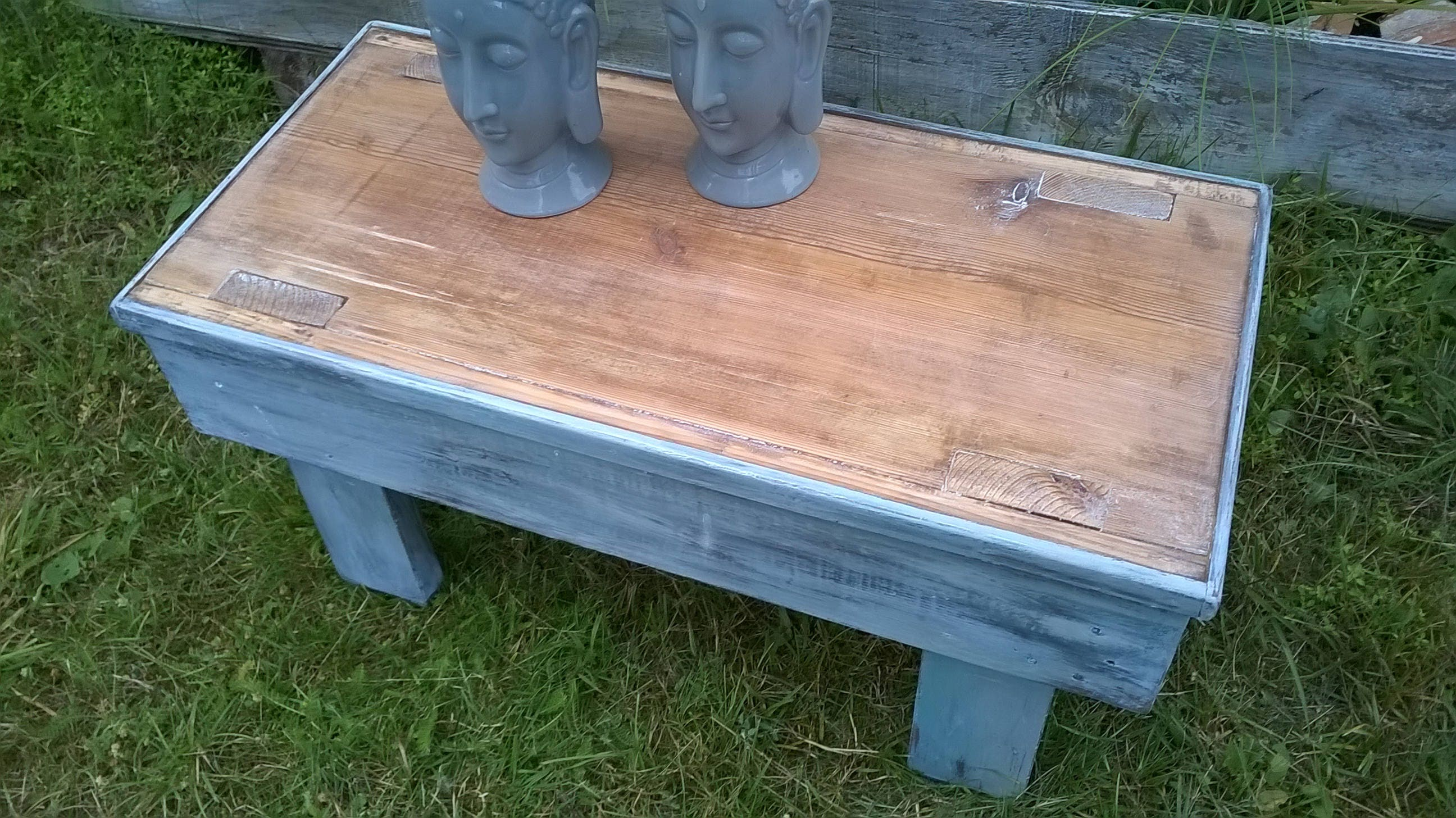 Shabby chic footstool stool side table used look-Shanty