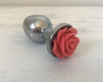 Ceramic Rose Stainless Steel Butt Plug