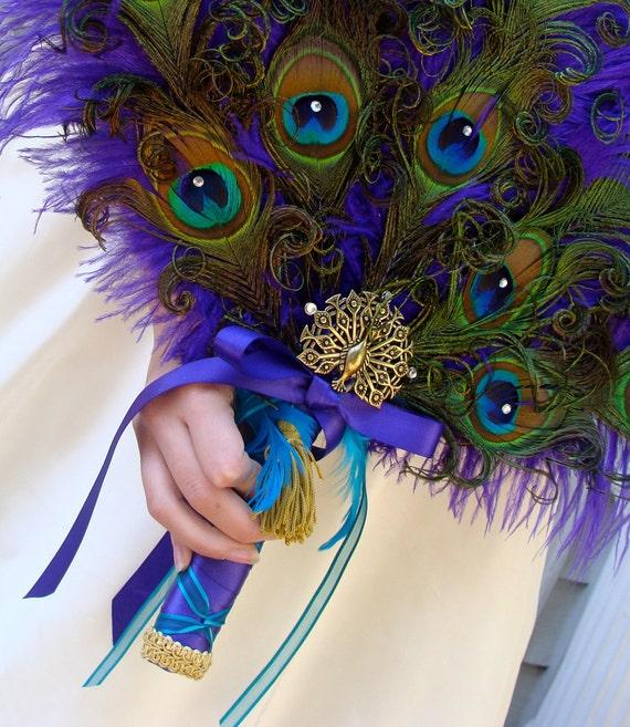 Renaissance Peacock Feather Bridal Fan Bouquet