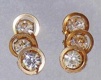 BIG SALE Vintage Judy Lee Rhinestone Earrings. Gold Plated Ear Climber Rhinestone Earrings.  Gold Circles Rhinestone Earrings.