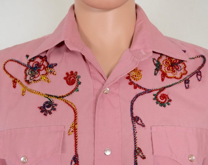 Vintage 1970's Men's Champion Westerns Metallic Embroidered Western Rockabilly HiPPiE RoCk STaR Shirt 44 M / L