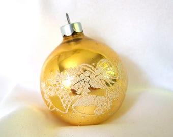 Vintage Gold USA Christmas Ornament with Stencilled White Mica Bells