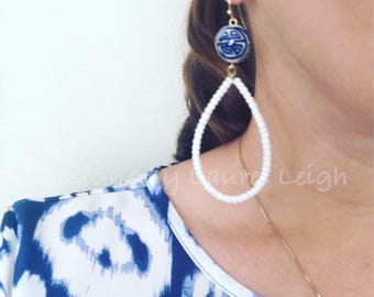 WHITE Hoop Earrings | blue and white, Chinoiserie, hoops, gold, dangle, ginger jar, lightweight, oval, dainty
