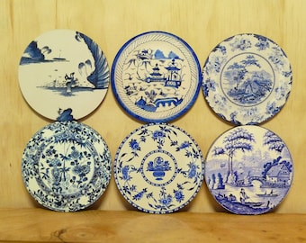 Set of 6 coasters - 95mm - Vintage Plate Patterns - Set 6