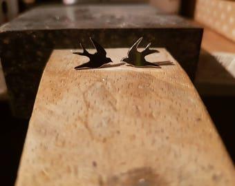 Silver Bird Earrings, Cute Bird Jewellery, Bird Studs, Love Birds, Swallow earrings, tiny earrings, Gift for Wife, animal earrings