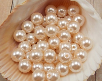 8mm Glass Pearls - Light Peach - Pale Peach - 50 pieces