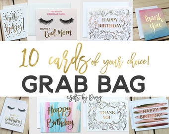 Grab Bag, 10 Greeting Cards of your choice! Card Blowout! Options of Birthday, thank you, mom, cards Gold Foil, SIlver Foil Handdrawn Design
